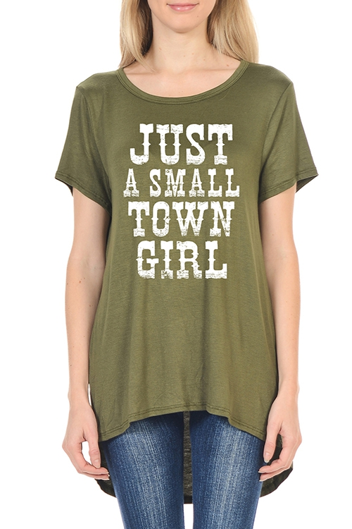 SMALL TOWN GIRL GRAPHIC SCOOP TOP - orangeshine.com