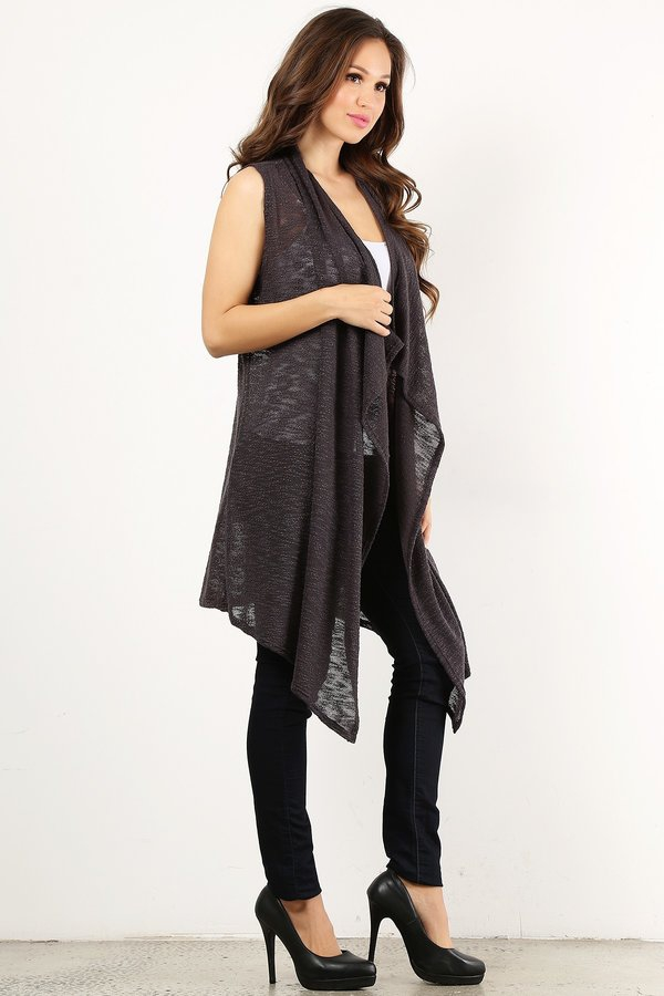 Knit sheer long body vest in a loo - orangeshine.com
