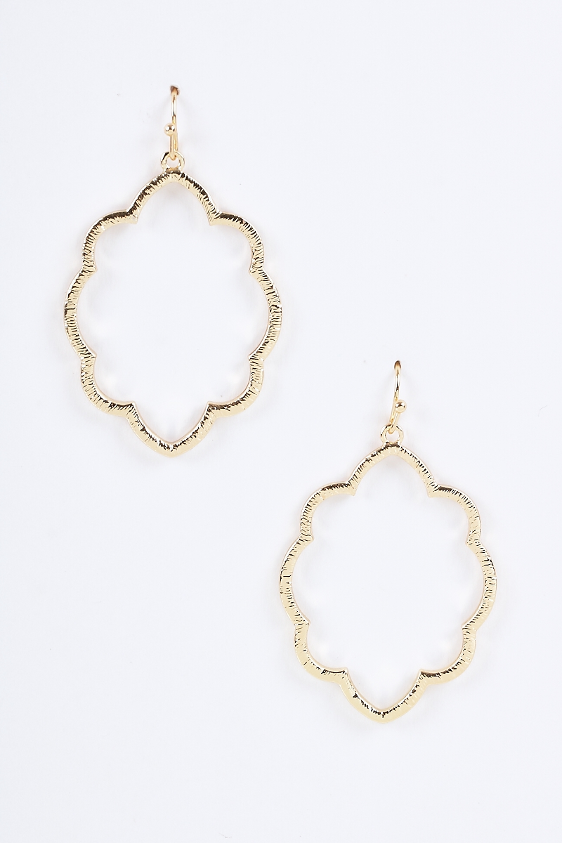Cloudy Frame Texture Dangle Earrings - orangeshine.com