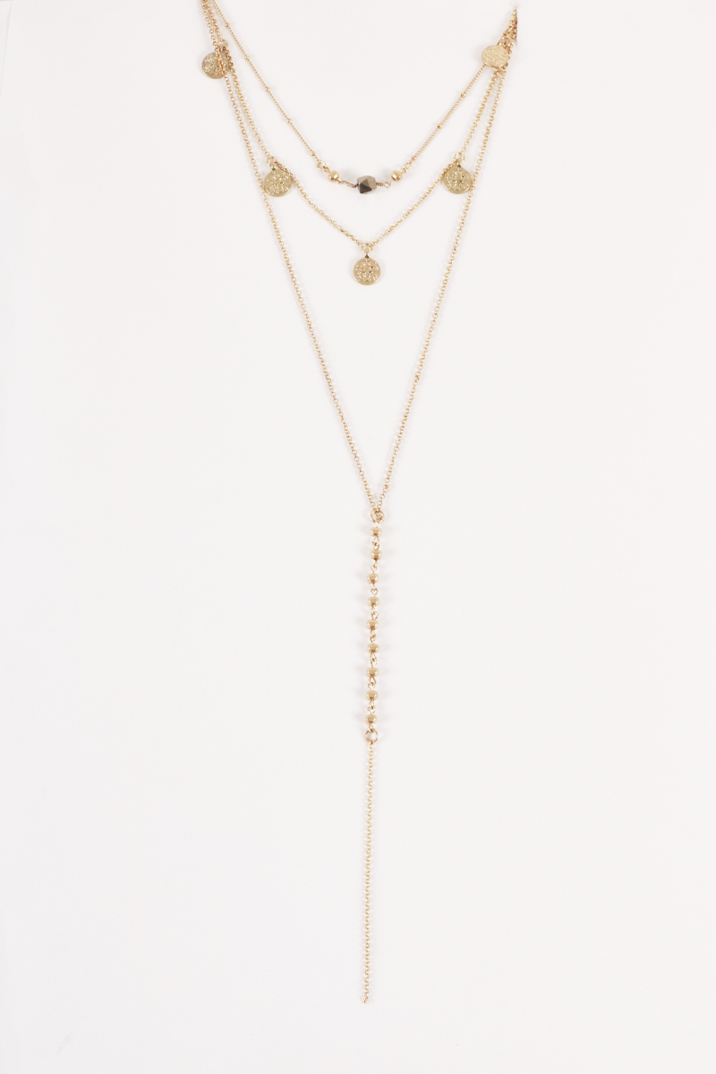 Layered Coin Choker Lariat Necklaces - orangeshine.com