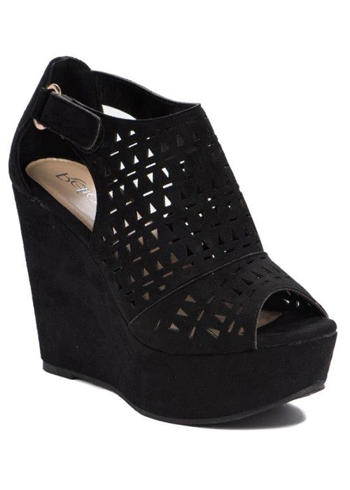 SUEDE PERFORATED PEEP TOE COVERED PL - orangeshine.com