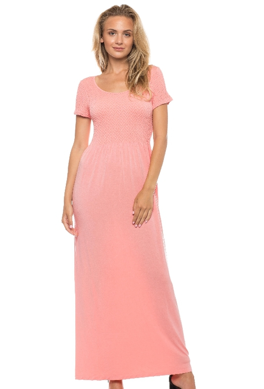 SMOCKED CAP SLEEVE MAXI DRESS - orangeshine.com