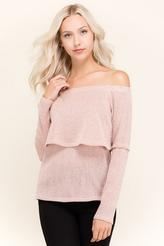 SWEATER OFF SHOULDER LONG SLEEVE TOP - orangeshine.com