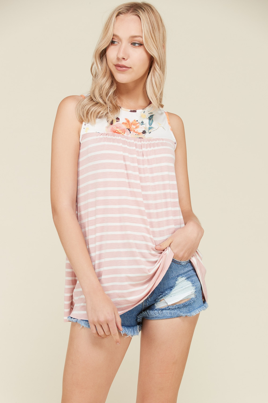 Stripe Sleeveless Tunic - orangeshine.com
