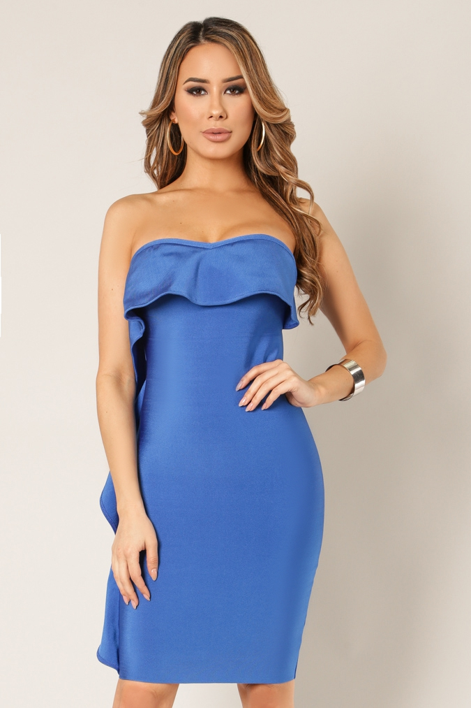Sweetheart Ruffled Bandage Dress - orangeshine.com
