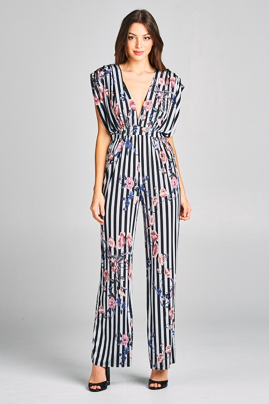 8ec567f010a4 Striped floral print jumpsuit - orangeshine.com. WIN WIN APPAREL ...
