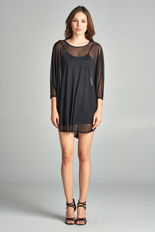 Solid sheer tunic dress - orangeshine.com