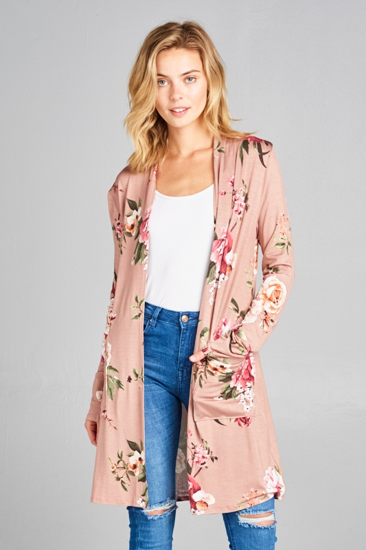 FLORAL LONG SL W/POCKET CARDIGAN - orangeshine.com