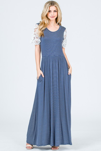 STRIPED MAXI DRESS CROCHET SLEEVES - orangeshine.com