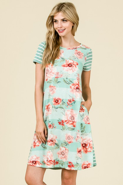 STRIPE FLORAL TEE DRESS - orangeshine.com