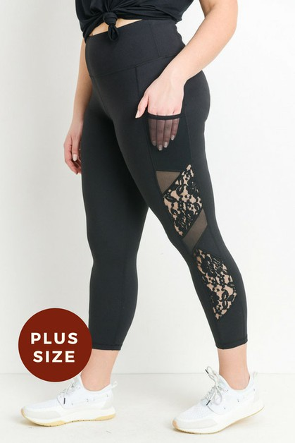 High Plus Size Active Leggings With  - orangeshine.com