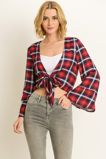 Plaid Bell Sleeve Top - orangeshine.com