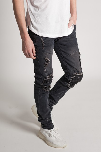 DESTROYED KNEE SKINNY JEANS - orangeshine.com