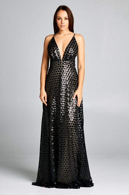 V-Neck Long Sequin Cocktail Dress - orangeshine.com