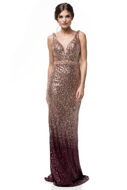 V-Neck Long Sequin Evening Dress - orangeshine.com