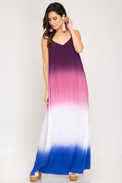 SL1543R -  OMBRE DIP DYE MAXI DRESS - orangeshine.com