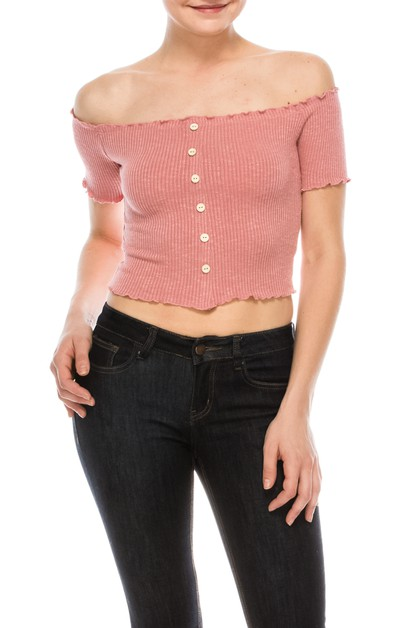 Ribbed Button Crop Top - orangeshine.com