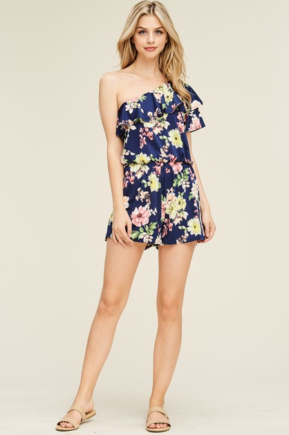 One Shoulder Ruffle Floral Romper - orangeshine.com