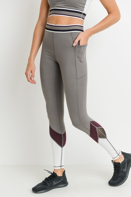 Highwaist Colorblock Pocket Leggings - orangeshine.com