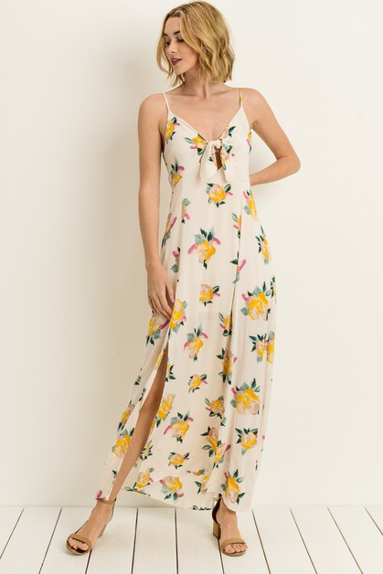 Floral Tie Front Slit Maxi Dress - orangeshine.com