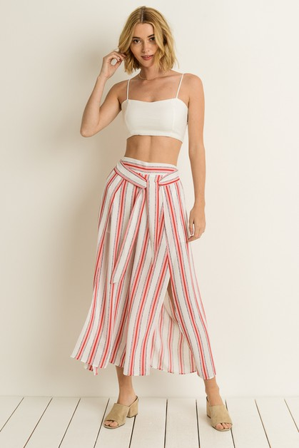 Striped Split Leg Pants - orangeshine.com