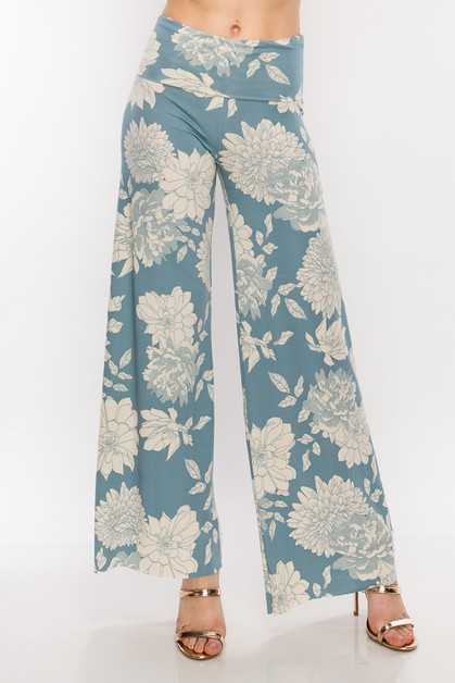 HIGH WAISTED WIDE LEG FLORAL PRINT  - orangeshine.com