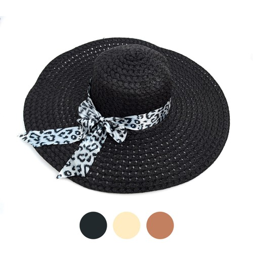 Women Leopard Bow Floppy Sun Hat - orangeshine.com