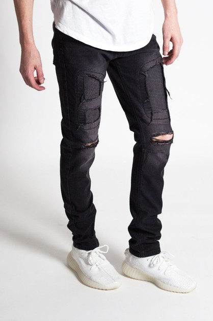 DISTRESSED MOTO PATCH JEANS - orangeshine.com