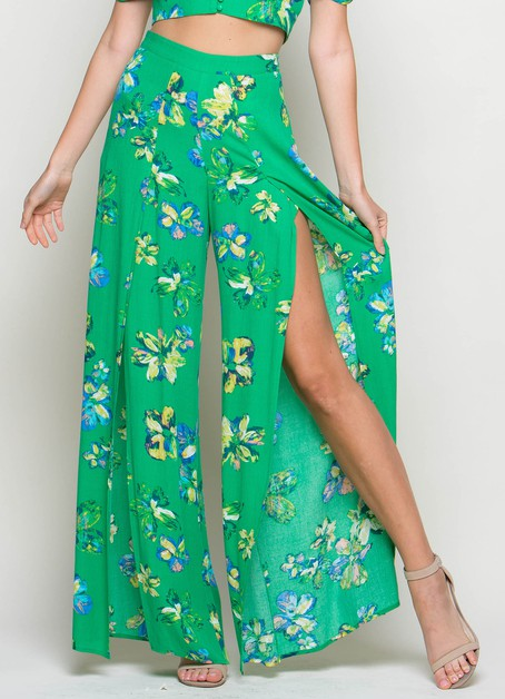 FLORAL PRINT SIDE SLIT WIDE PANTS - orangeshine.com