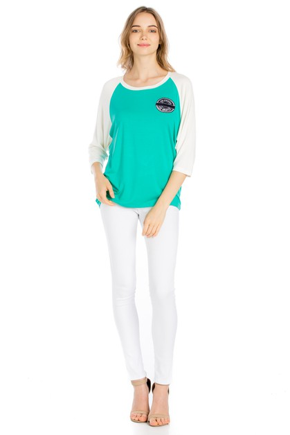 COLOR BLOCK RAGLAN SLEEVE TOP - orangeshine.com