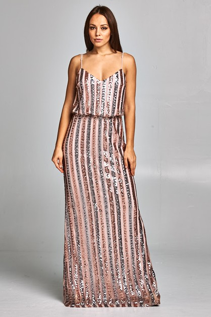 Sequin Long Dress - orangeshine.com
