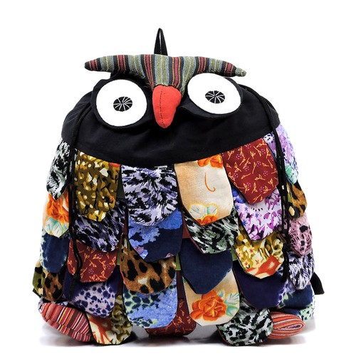 Handicrafts Owl Patchwork Backpack - orangeshine.com