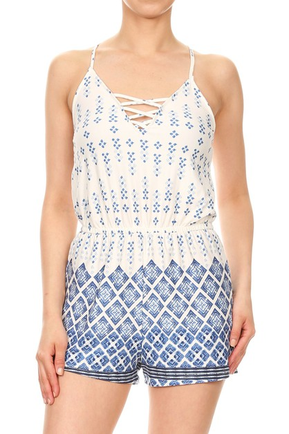Stretchy Bohemian Rompers White Blue - orangeshine.com
