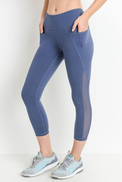 Mesh Overlay Pocket Capri Leggings - orangeshine.com