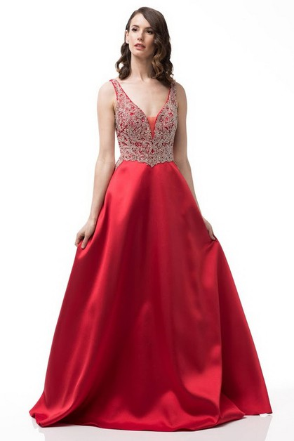 V-Neck Ball Gown - orangeshine.com
