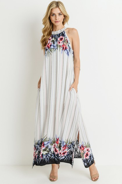Floral Sleeveless Woven Maxi Dress - orangeshine.com