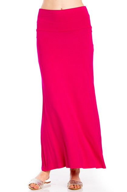 Casual Solid Maxi Skirt  - orangeshine.com