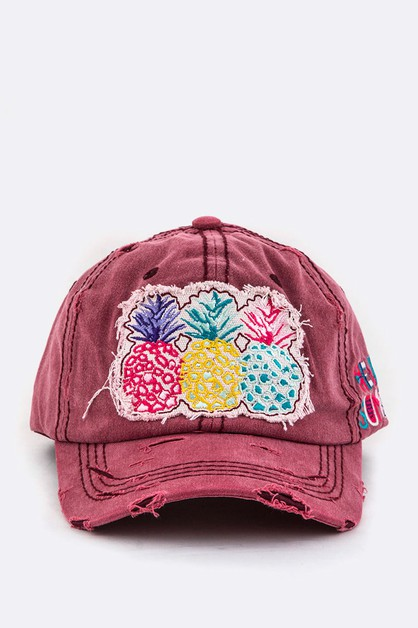 Pineapples Embroidery Cotton Cap - orangeshine.com