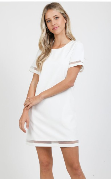 SOLID SHEER BOTTOM TRIM SHIRT DRESS - orangeshine.com
