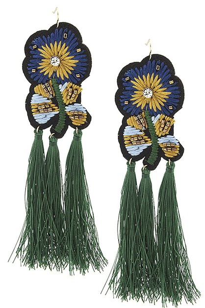 Flower Embroidery Tassel Earrings - orangeshine.com