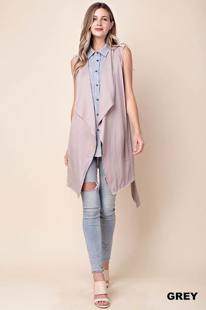 BACK SLIT LONG VEST - orangeshine.com