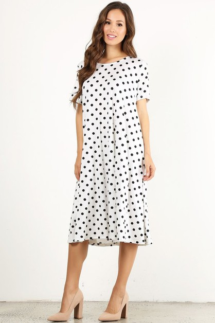 Polka dot printed midi dress - orangeshine.com