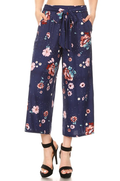 Navy Floral Cropped Palazzo Pants - orangeshine.com