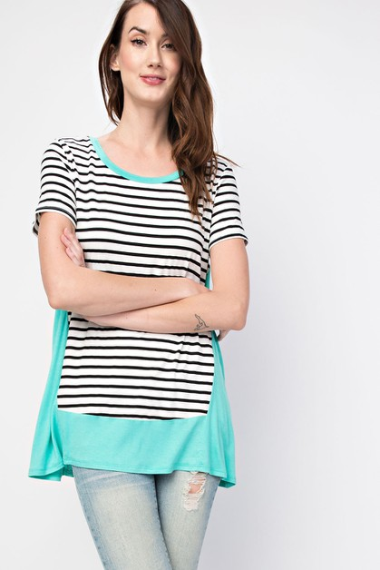 Colorblock Contrast Stripe Top - orangeshine.com