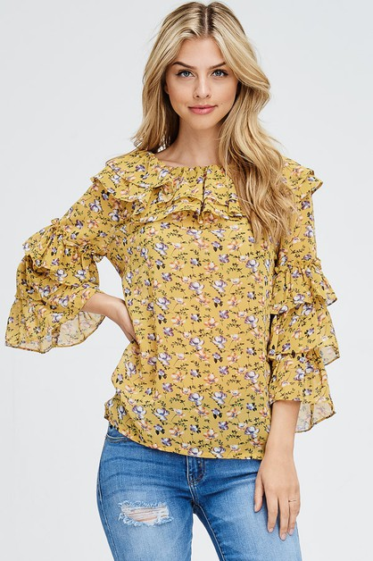 Floral Print Ruffle and Layered Top - orangeshine.com