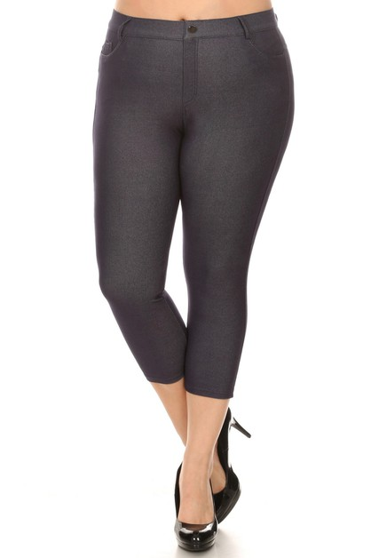 Womens Classic Solid Capri Jeggings - orangeshine.com