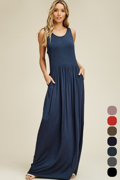 Solid Pleated Maxi Tank Dress - orangeshine.com