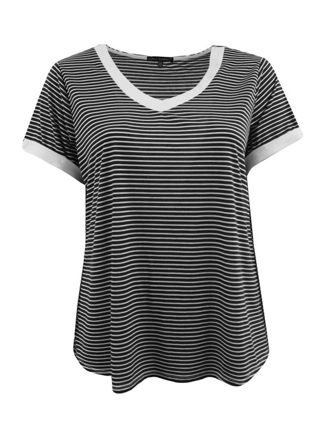 Plus Size Striped V-Neck Tee - orangeshine.com