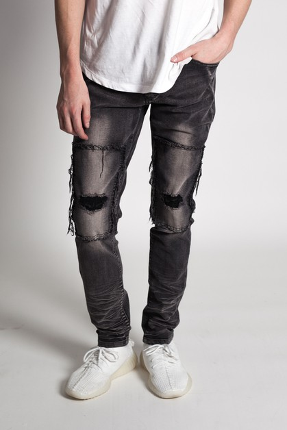 KNEE PATCH SKINNY JEANS - orangeshine.com