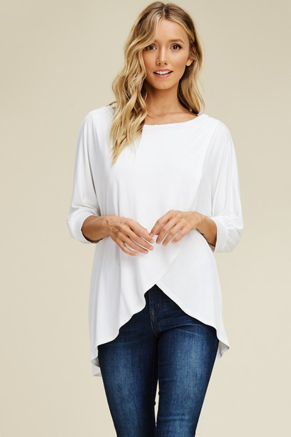 Solid Cross Wrap Front Tunic Top - orangeshine.com
